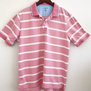 LANDS' END Striped Pique Polo in Pink SZ L (42-44)
